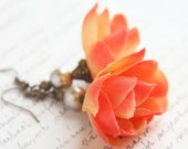 Romantic Flowert Earrings. Peach Orange. Antique Bronze. Shabby Chic. Valentine's Gift TAGT TEAM