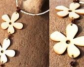 Flower Power Boho Necklace. Wooden Flower Pendants. Topaz Swarovski Crystal. Summer Jewelry. Light Beige Brown Natural Organic Inspired tagt
