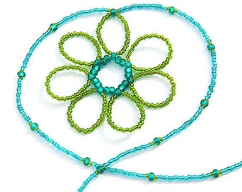Summer Outdoors Thin Minimalist Necklace Womans Seed Bead Necklace Beaded Flower Necklace Teal Green Nature Necklace Gift for Gardener
