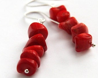 4th July Red Coral Earrings Large Nuggets Stacked Sterling Silver Earrings Simple Jewelry Genuine Coral Jewelry Gift for woman