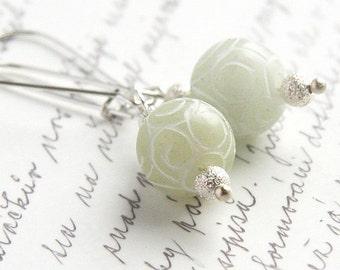 Light Green Jade Earrings - Carved Stone - Sterling Silver Earrings - Romantic Lace Pattern - Fall Fasion - Dangle Earrings