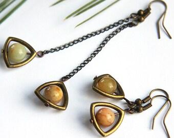 Boho Jade Earrings Vintage Style Antique Bronze Triangle Frame Gunmetal Chain You Pick Short or Long Dangle Christmas Gift Idea