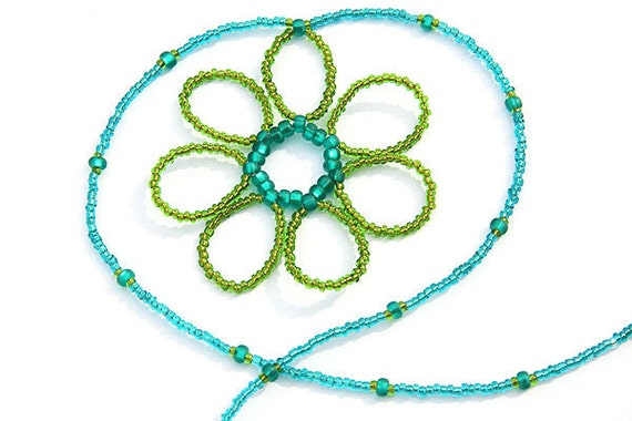 Thin Minimalist Necklace, Womans gift for her, Seed Bead Necklace,  Beaded Flower Necklace Teal and Green Nature Necklace Gift for Gardener