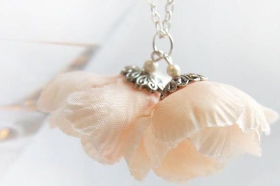 Romantic Fabric Flower Necklace Sweet 16 Gift Pink Flower Pendant Sterling Silver Chain Pastel Shabby Chic Necklace Peach Wedding Necklace