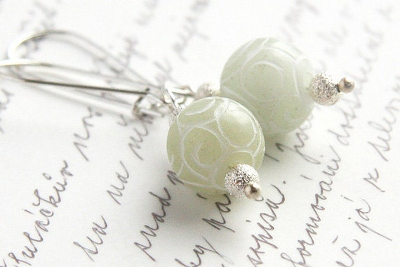 Summer Outdoors Light Green Jade Earrings Carved Stone Sterling Silver Earrings Romantic Lace Pattern Fall Fasion Dangle Earrings