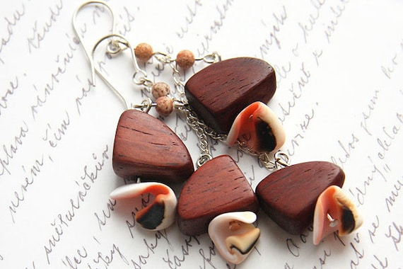 Organic Wooden Nuggets and Shell Earrings. Silver Chain. Red Mahogany. Jasper Stone Beads. Original Handmade in Canada tagt team
