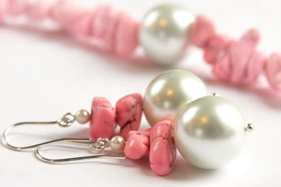 Feminine PINK Turquoise Earrings. Stacked Stone. Big White Pearl. Exciting GIFT for HER. tagt team