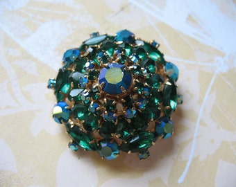 Green With Envy Fifties Bling Brooch