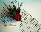 out of the past - crimson velvet flower headpiece with vintage veiling HOLIDAY SALE take 20% off with coupon code