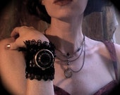 Les Fleurs du Mal - cuff with victorian beadwork, antique velvet flowers and secret poison compartment- made to order