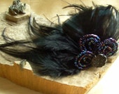 black fascinator with antique beads and vintage feathers