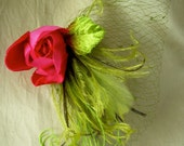chartreuse and spring green fascinator with rare vintage chartreuse netting and dark pink vintage velvet rose