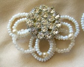 Beaded rhinestone shoe clips with 1920's faux pearls and beads