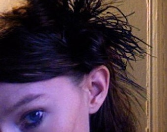 spellbound- black feather fascinator with vintage feathers and red accents