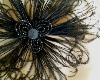 into the night- film noir fascinator - vintage style headpiece 1920's 1940's headpiece - antique beading ostrich feathers black beaded clip