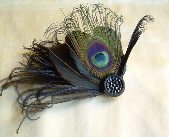 moonlit sea - black fascinator with organic rooster and black peacock feather