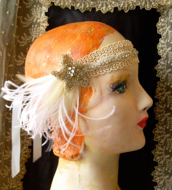 flora star- ivory flapper headband with vintage beadwork, rhinestone trim and white and ivory feathers