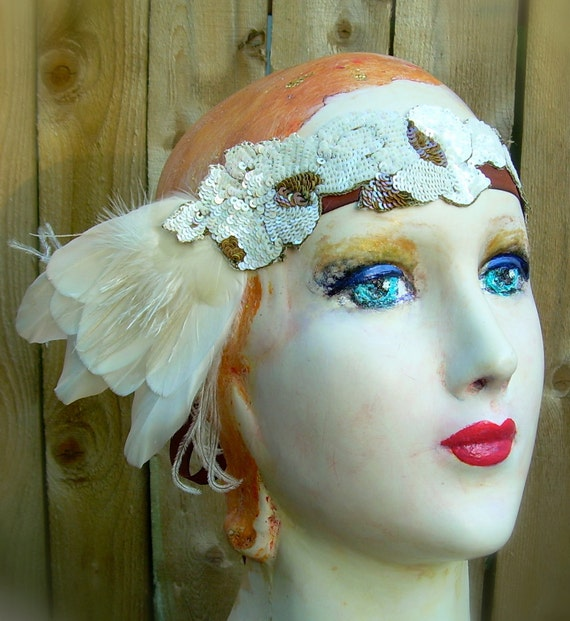 eloise - art nouveau flapper headband of vintage sequined flowers and cruelty free feathers in ivory and brown- last one