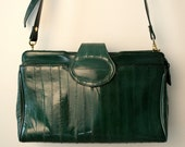 Vintage 1980s HUNTER GREEN Eel Skin Purse