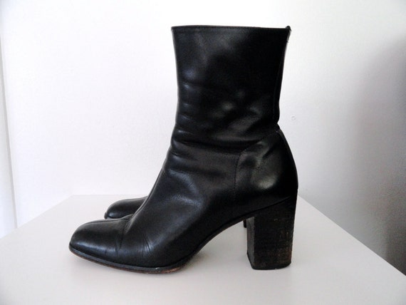 90s Black Leather Boots Size 8.5