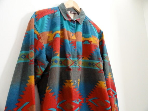 90s Rainbow Pendleton Style Southwestern Print Oversized Flannel Button Up Shirt