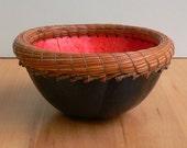 Handmade blue gourd basket with pine needles orange ombre inside