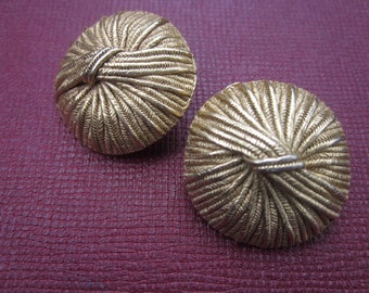 Vintage Earrings Clips Clip Ons Gold Goldtone Robe Nautic Nautical 60 1960 80s Look Big