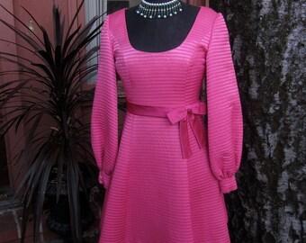 Vintage Rare Designer Cocktail Dress Pink Party Dress Magenta Rare Mad Men Style 1960s Bow Dress