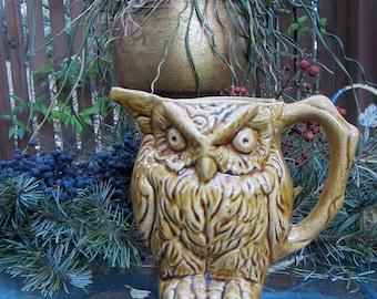 Vintage Owl Pitcher Vase