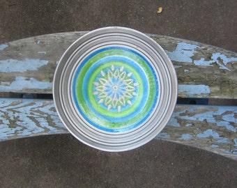 Vintage Ceramic Bowl 12 inch Rosenthal Netter MCM Mid Century Large Bitossi Ceramic Blue Green Silver Pottery Italy Centerpiece Raymor Londi