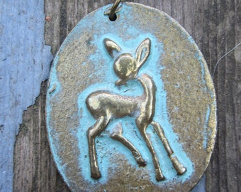Vintage Mid Century Deer Fawn Necklace Great Patina Bronze