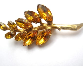 Vintage Pin Brooch Amber Color Leaves Pin Fall Pin For Collar Purse Coat