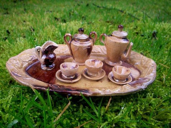 Woodland Faery Tea Set - VINTAGE - Dark Brown & Tan - Miniature Tea Set - perfect addition to your faery (fairy) house.