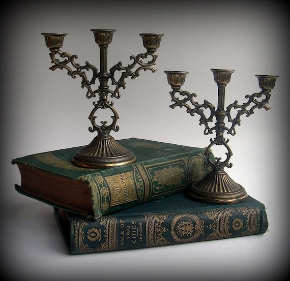 Witching Hour - VINTAGE - Gold / Bronze Toned Miniature Candelabras - perfect for book shelf, altar or upon fireplace mantle.