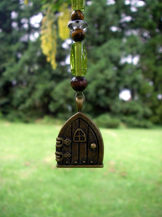 Woodland Faery / Fairy / Gnome / Hobbit Door - Car or Window Charm - perfect to hold tiny picture, leaf, flower, etc.