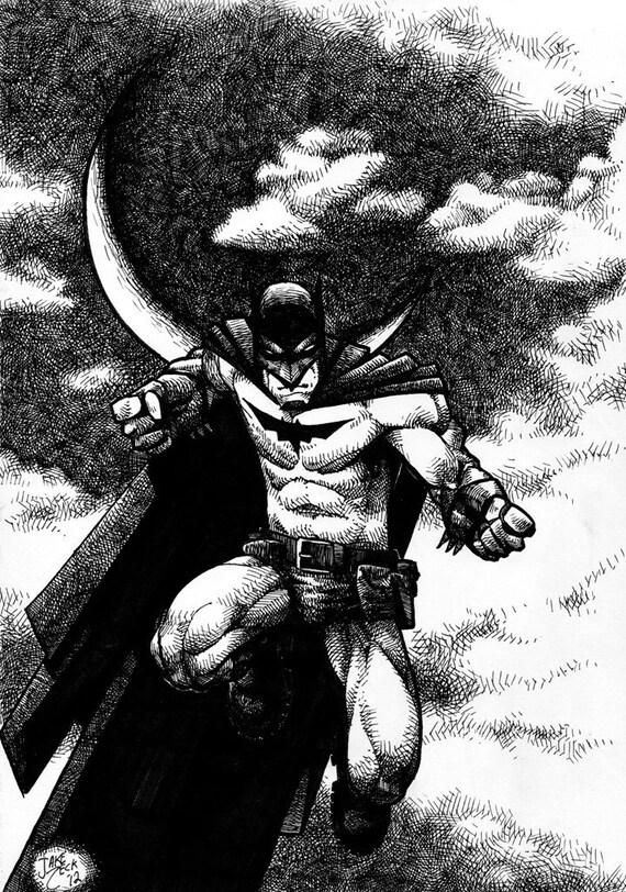 Dark Knight Sky -black and white-pen and ink-11x17-glossy Batman comic art print