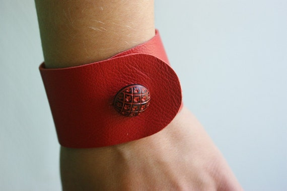 Red leather bracelet wristband with folk button - last one! size medium