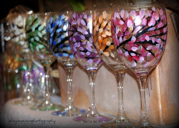 Hand Painted Colorful Leaves Wine Glasses Wedding Bridal Gifts under 50