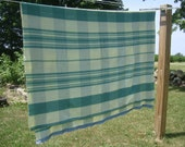 Vintage Plaid Green an Cream Blanket