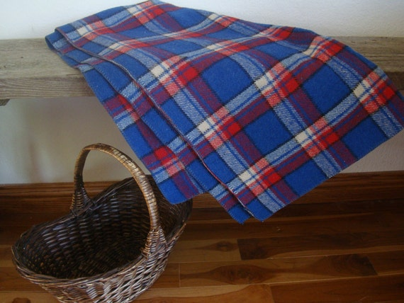Vintage Wool Blanket Red White An Blue Plaid Heavy