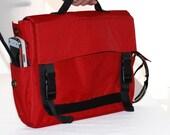 Padded Laptop Bag, Messenger Bag, Adjustable Straps - Helena in Red