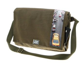 Army Green Messenger Bag,Printed laptop Bag , Cordura Bag with Adjustable Straps - Dundee Bangkok Print