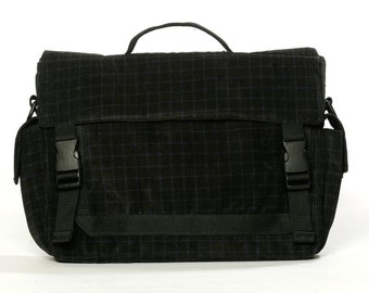 Padded Laptop Bag , Messenger Bag  with Adjustable Strap- Helena in, Black checkerd corderoy