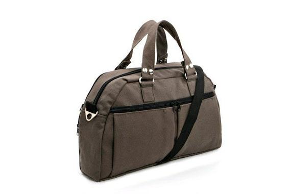 Grey Canvas Padded Laptop - Messenger -  Backpack - Overnight Bag - Neo