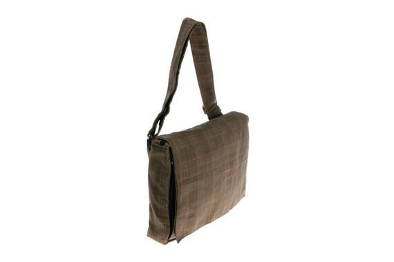 Brown and Tan, Plaid Print, Messenger Bag , Vegan, Laptop,Adjustable Straps - Mula printed Checkers