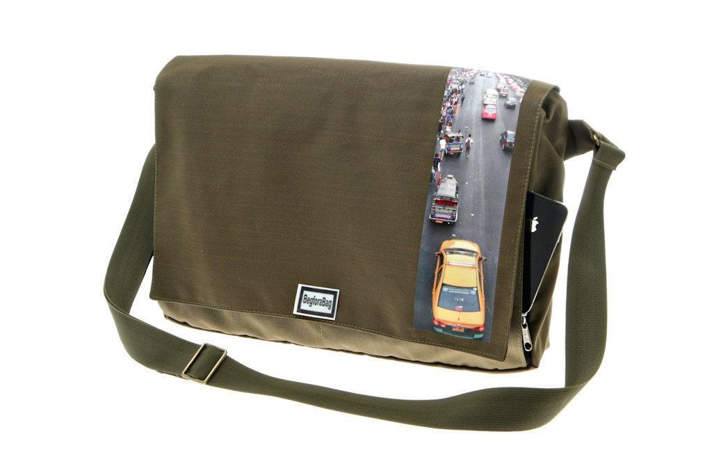 Army Green Messenger BagPrinted laptop Bag Cordura Bag with