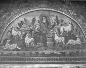 The Good Shepherd mosaic - 1950s fine art reproduction - From within the Tomb of Galla Placidia, Ravenna Italy - 5th Century