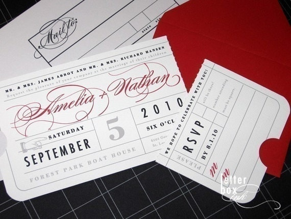 Wedding Invitation Tickets: Vintage Ticket Wedding Invitation