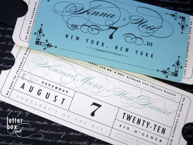 Wedding Invitation Tickets: Formal Vintage Ticket Wedding Invitation