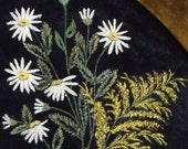 Vintage Painted Velvet Panel of Daisies and Goldenrod